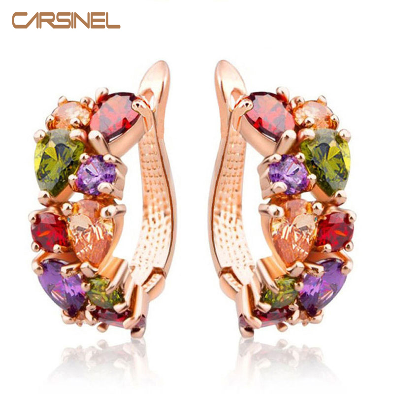 CARSINEL Luxury Rose Gold Color Mona Lisa Stud Earrings For Women With Colorful Zircon Crystal Wedding Jewelry Earrings