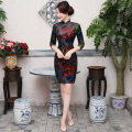 Free Shipping Half Sleeve Qipao Traditional Chinese Dress Women's Clothing Cheong-sam Dress Velvet China Dresses