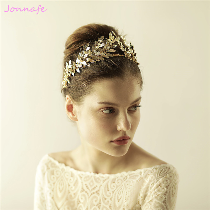 Jonnafe 2017 Gold Leaf Crown Wedding Tiara Headband Pearls Bridal Hair Piece Accessories Women Prom Hairband Hair Crowns цена 2017
