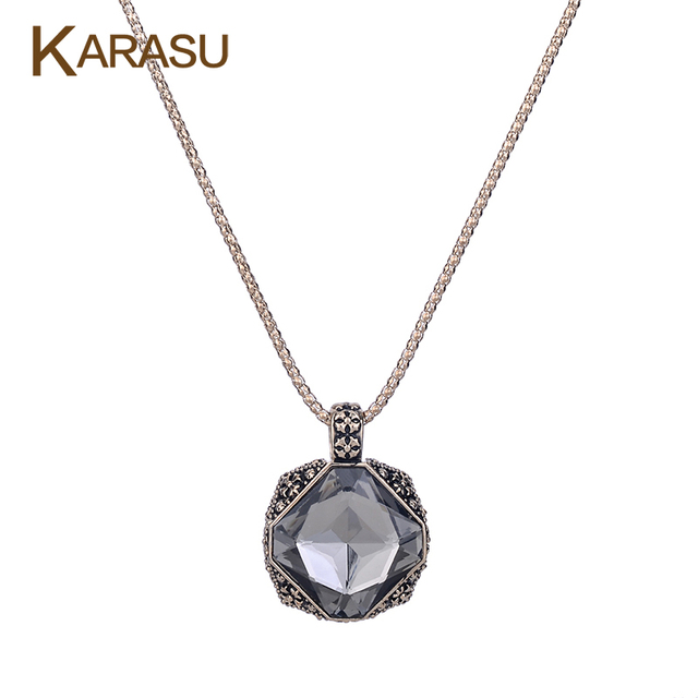 Trendy Black Double Square Design Austrian Crystal Pendant Gold Plated Popcorn Chain Long Sweater Necklace for Women Jewelry