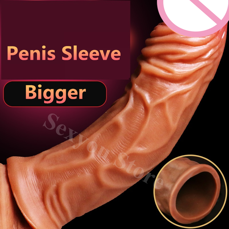Penis Enlarger Condom Cock Sleeve for Male Penis Extender Penis Pump Cover Silicone Dildo Condom Sex Toys for Couples