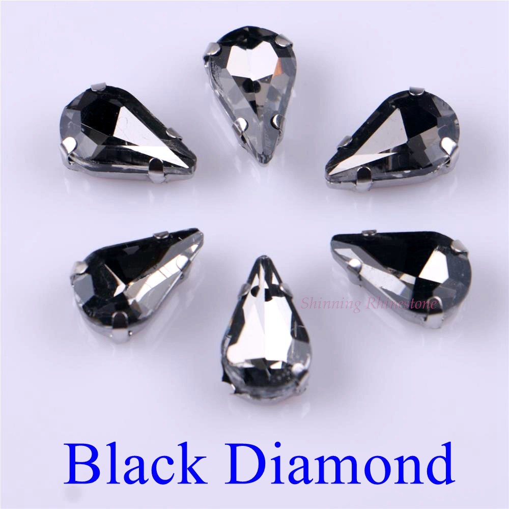 Узкий Каплевидная форма стеклянные стразы с когтями пришить с украшением в виде кристаллов Камень страз с алмазными металлическими Базовая Пряжка 20 шт./упак - Цвет: Black Diamond