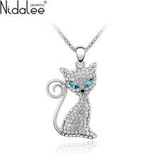 Nidalee 2016 nuevo lleno de circón gato precioso colgantes collares declaración para las mujeres del banquete de boda de cristal de swarovski joyería n286