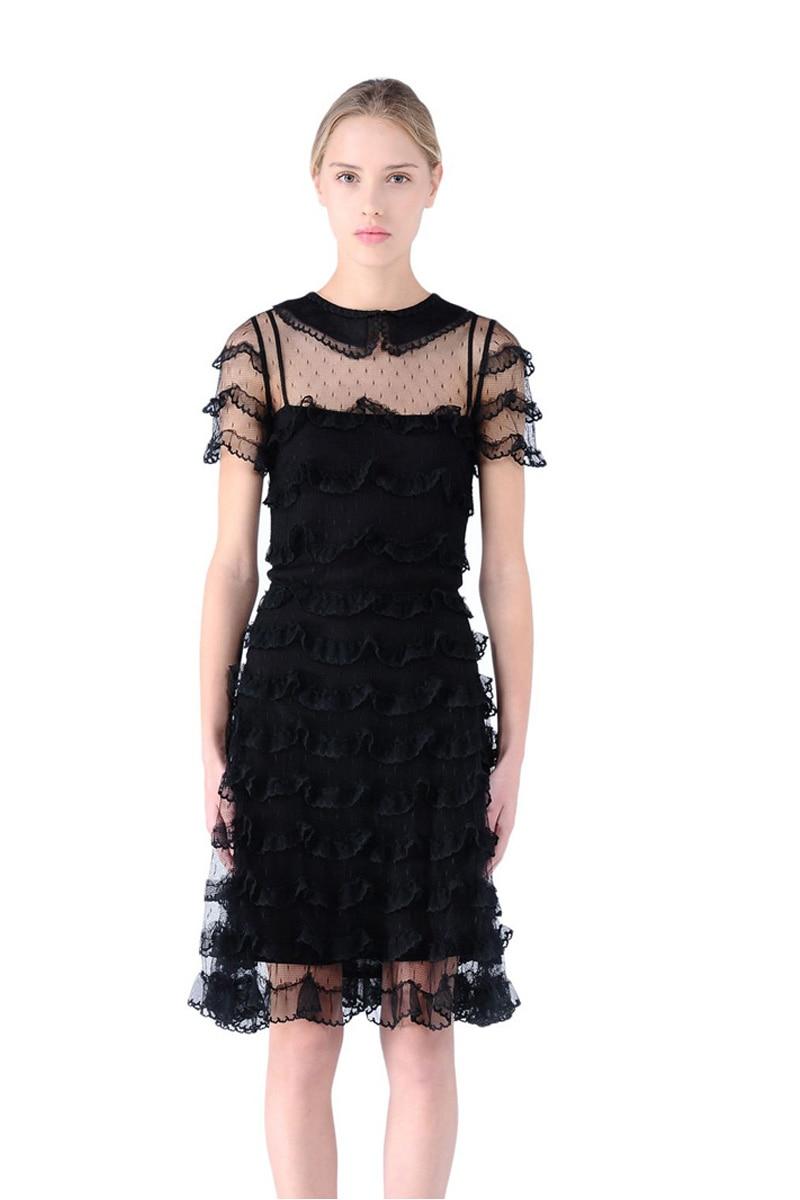 Mode Plus Femme Cour De Deux Top Robes Robe Ensemble Rétro Taille La D'été Femmes pièce Fils Dentelle 2017 Poupées Noir Chaude Vente PqPXzr
