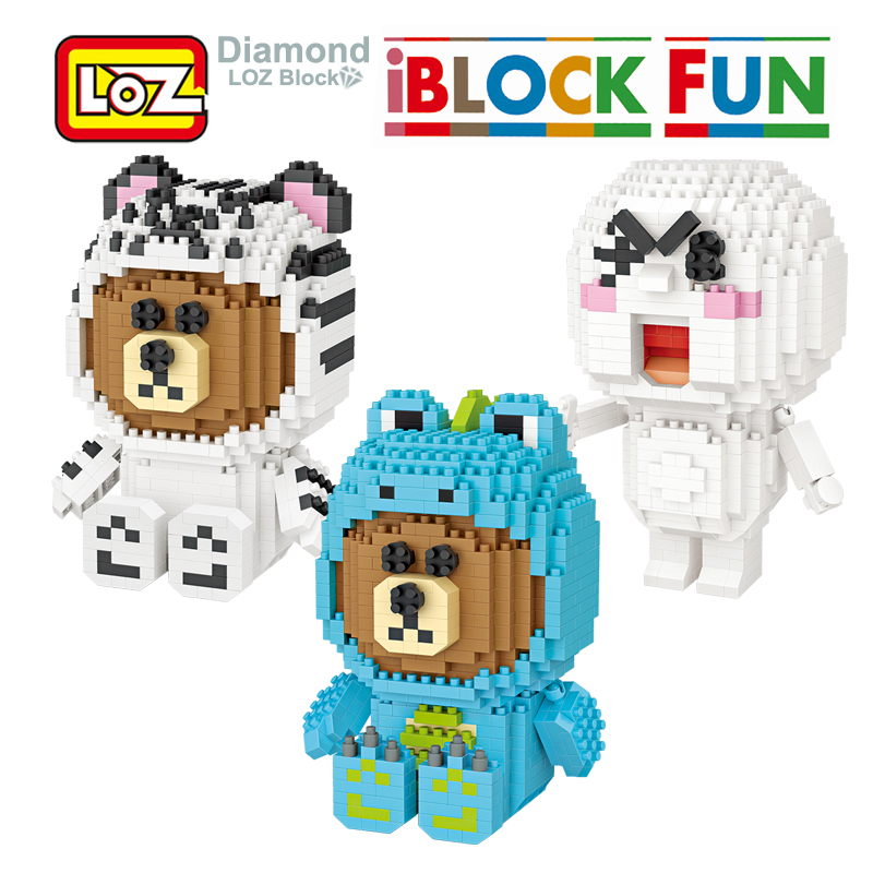 LOZ Brown Bear Cony Moon Line Town Building Diamond Blocks Model Toys Action Figure Toy For Age 14+ Offical Authorized new gundam action figure model diamond building blocks loz 15cm 6 pcs set toys for children 9