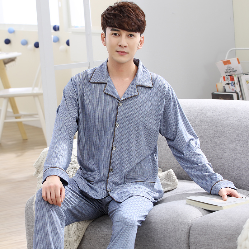 2018 New Arrived Pajamas Sets Men Long Sleeve Turn-down Collar Pijamas Hombre Spring Autumn Male Casual Tracksuit Plus Size 3XL