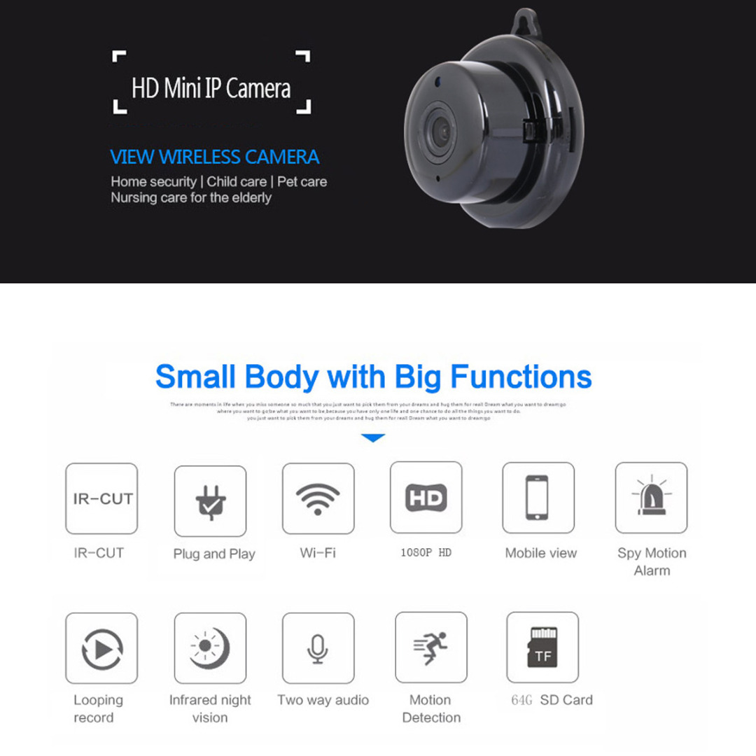 Mini Camcorders 1 Set 2.8mm Mini Wireless WIFI IP Camera Home Security Full HD Night Vision CCTV Monitor Supports 1080p Mayitr