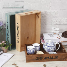 Creative Solid Wood Tea Set Storage Tray Cosmetics Desktop Sundries Tray