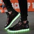 2017 Zapatos de Los Hombres Zapatos Para Hombre de 7 Colores Led Que Brilla Intensamente Led Luminoso Glitter Zapatos de Alta-Top Zapatos Lumineuse Luz Up Chaussure Femme