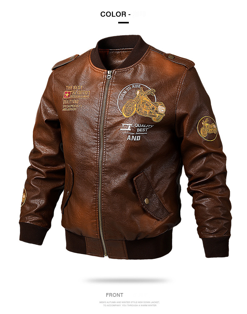 HTB1IN1SdlCw3KVjSZR0q6zcUpXap Men's Leather Jackets and Coats Male Motorcycle Leather Jacket Casual Slim Brand Clothing V-Neck Collar Coats