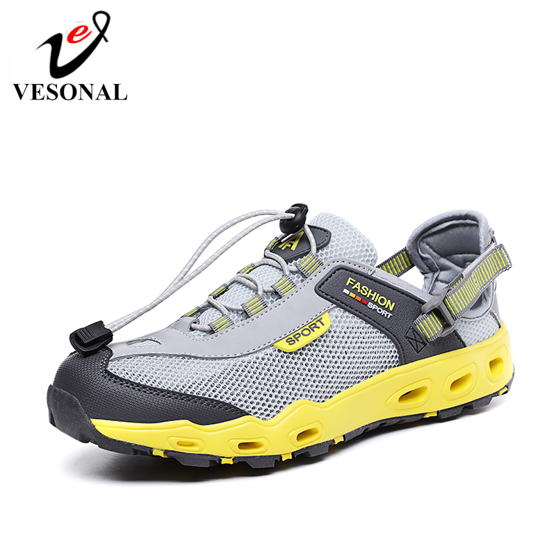 VESONAL Summer Mesh Men's Sandals Sneakers Men Shoes Casual Beach Outdoor Wading Breathable Male Footwear Sandalias(China)