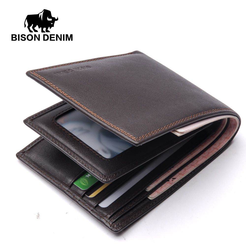 BISON DENIM 2018 New Cow Leather Wallet Men Genuine Leather Short Wallet Handmade Purse For Men Wallets Card Holder N4489