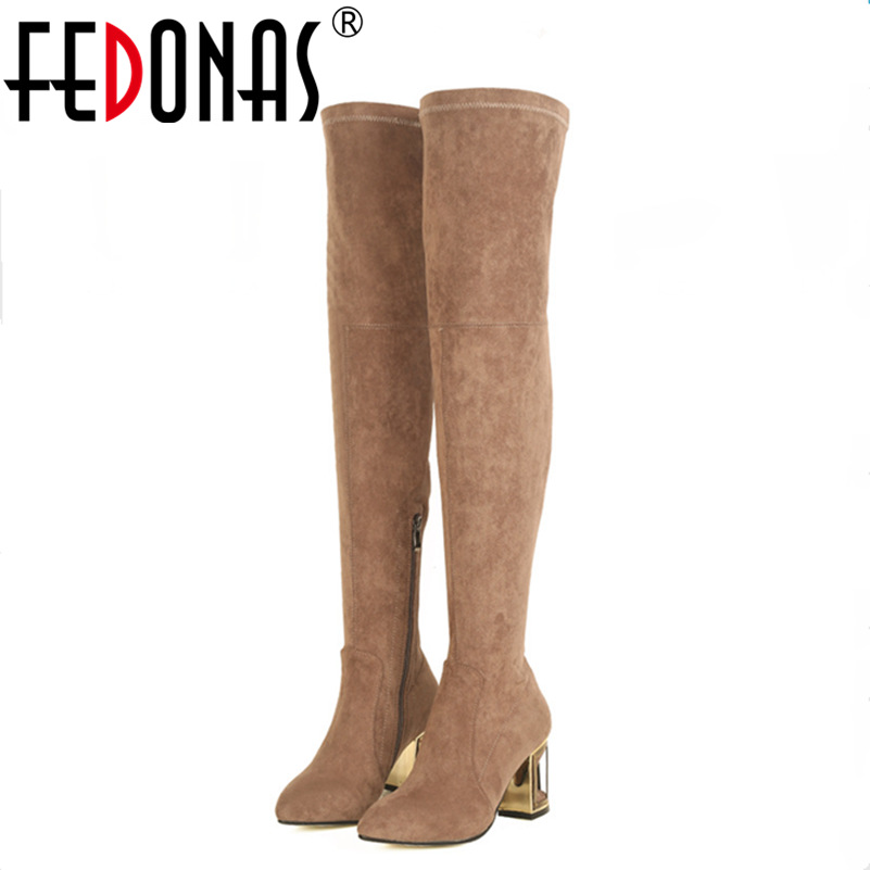 FEDONAS Fashion Women Thick High Heeled Over The Knee High Boots Sexy Autumn Winter Warm Snow Boots Side Zipper High Shoes Woman 2017 sexy thick bottom women s over the knee snow boots leather fashion ladies winter flats shoes woman thigh high long boots