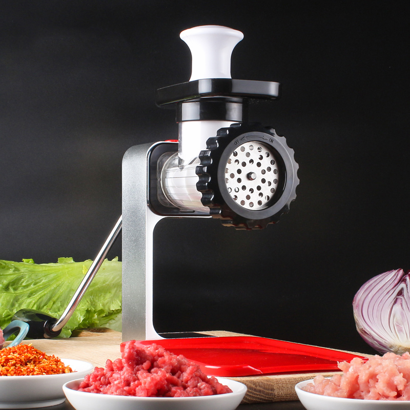 Meat Grinder Manual Mincer Machine Pork Beef Peanut Grinder Sausage Maker with Red Plastic Plate Kitchen