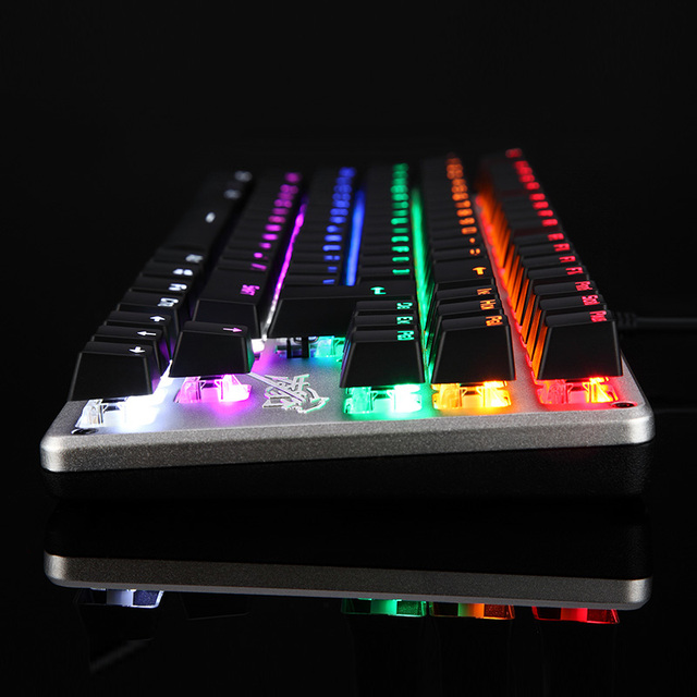 Genuine colorful 104 keys led gaming mechanical keyboard Computer  luminous metal wired keyboard free shipping 3