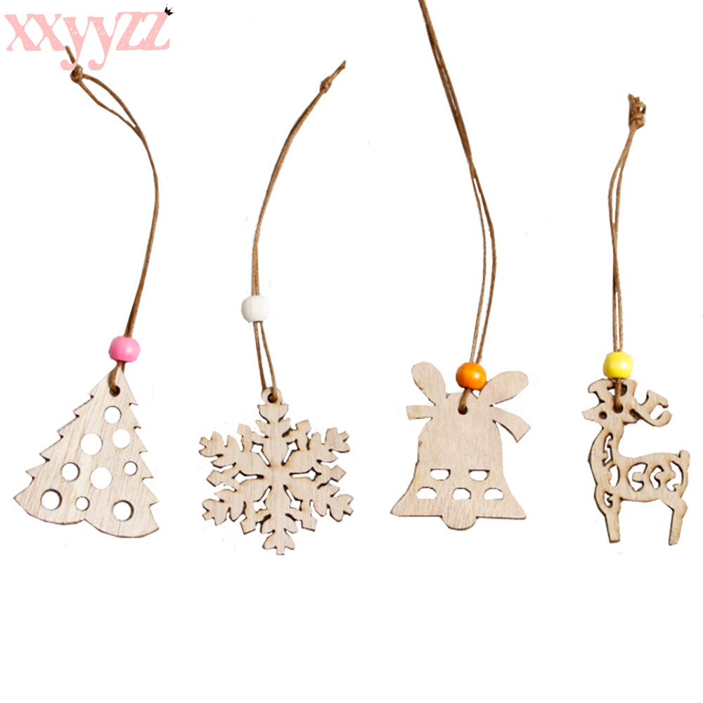 2019 New Snowflake Star Santa Claus Boots Bells Christmas Tree Hanging Wooden Ornaments Party Christmas Decorations for Home christmas tree