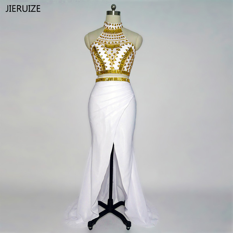 JIERUIZE White And Gold Crystals Mermaid   Prom     Dresses   Long 2018 Two Pieces   Prom     Dresses   Side Slit Party   Dress   robe de bal longue