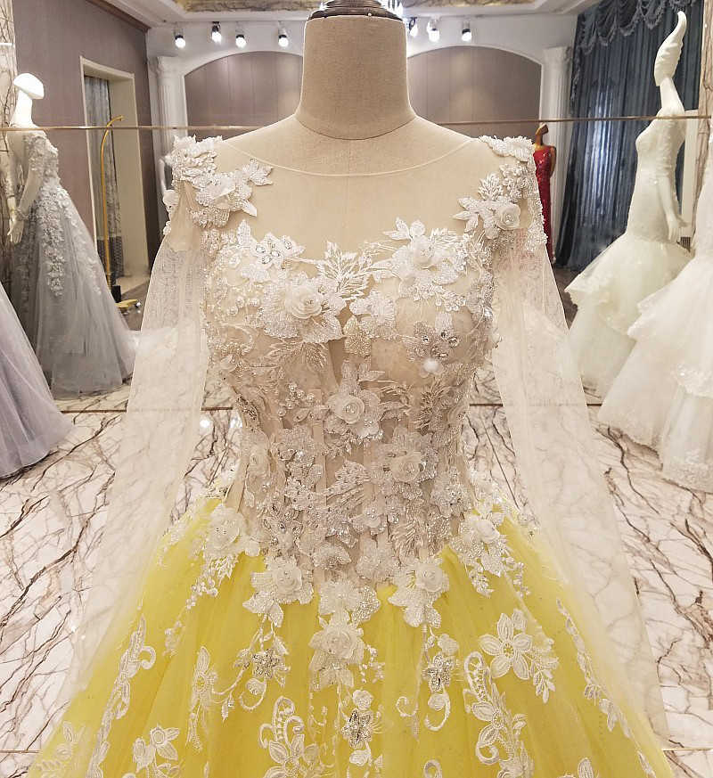Ls9895 Yellow Evening Gown Corset Back Beaded Tulle Long Sleeves Evening Dress Long On Sale Abendkleider Lang Real Photos Evening Dresses On Sale Evening Dresslong Evening Dress Aliexpress