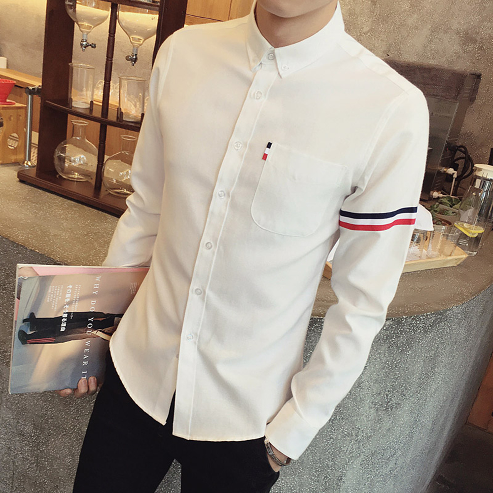 2017 New autumn men's casual tops brand shirt striped Strip decorate cotton men fashion solid color long sleeved Shirts M-XXXL 58