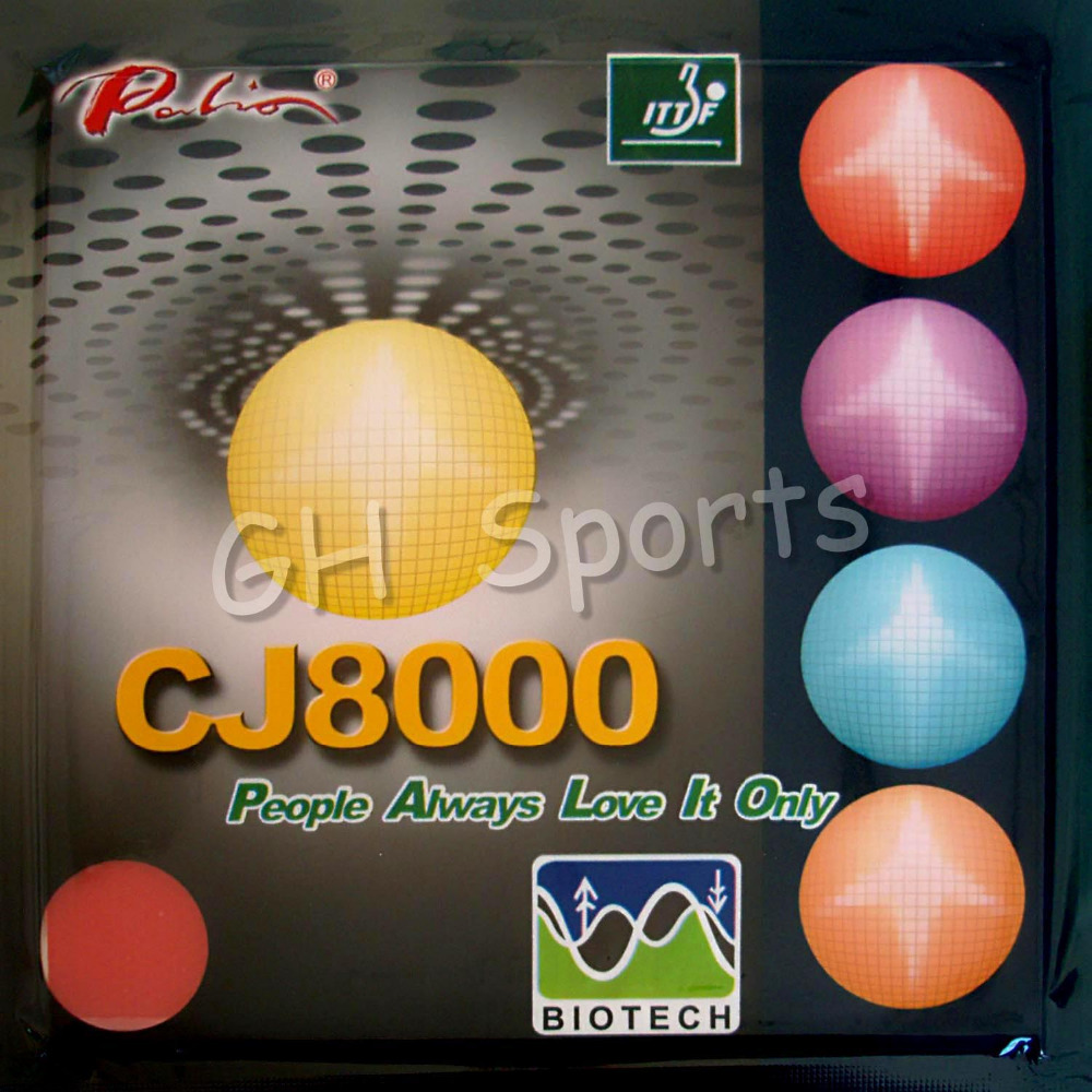 <font><b>Palio</b></font> <font><b>CJ8000</b></font> <font><b>BIOTECH</b></font> (Short-Middle Court, Loop+Attack) Pips-In Table Tennis (PingPong) Rubber With Sponge (2.2mm, 40-42degree) image