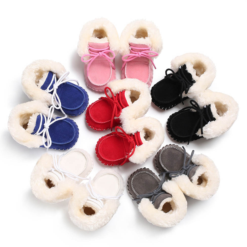 MrY New Winter Infant Toddler Baby Boy Girl Soft Sole Crib Newborn Non-slip Padded Shoes Sneaker Warm Solid Boots 0-18 Months