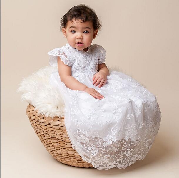 2017 Stunning Lolita Infant Toddler Christening Dress Baptism Gown Baby Girl Boy Lace WITH BONNET Dress 0-24month newborn baby christening gown infant girl s white princess lace baptism dress toddler baby girl chiffon dresses hat 2pcs set