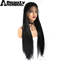 ANOGOL BEAUTY Hair Cap+1# Black Braided Hand Tied Natural Long Straight Synthetic Lace Front Wig For Women With Baby Hair