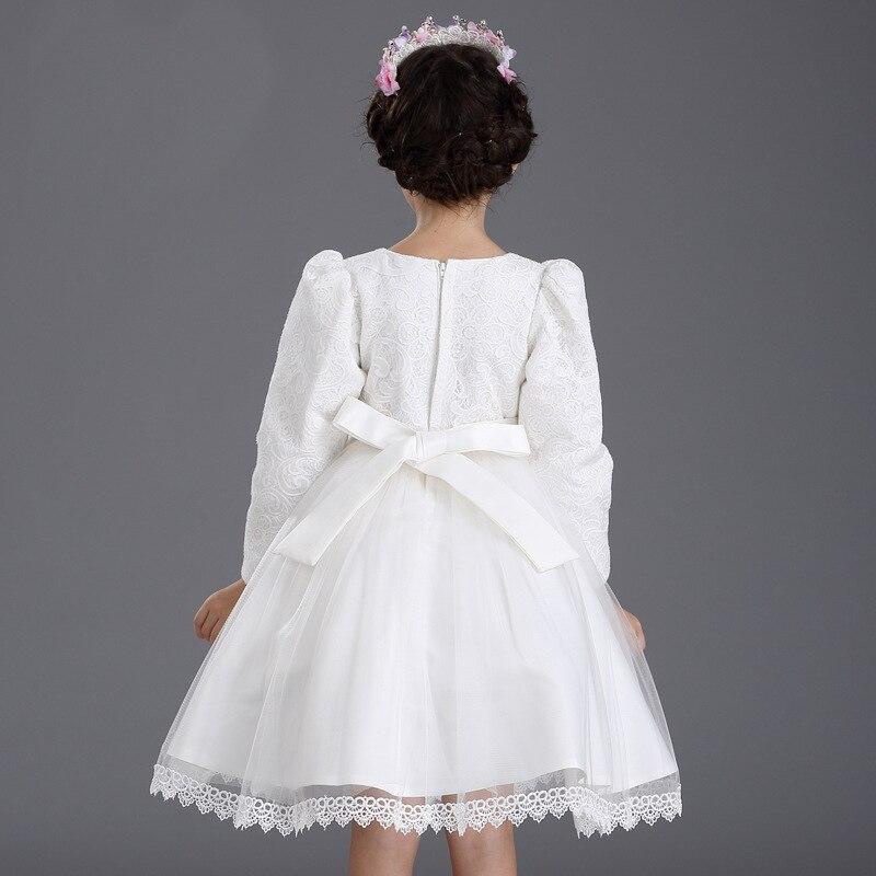Őszi hercegnő fél fehér menyasszonyi ruhák gyerekek csípős íj - Gyermekruházat - Fénykép 2
