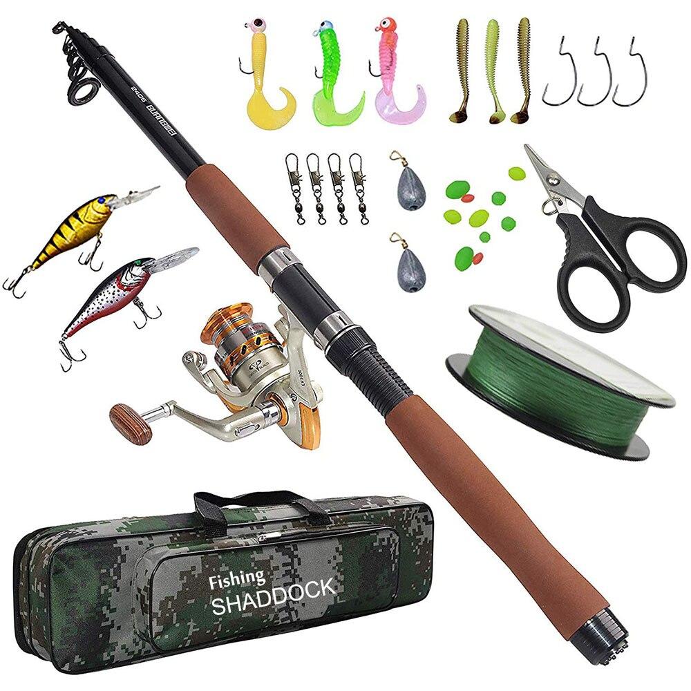 2.1/2.4/2.7 m canne à pêche Combo et moulinet Kit complet ensemble de pôle de pêche filature ligne de moulinet leurres crochets pivote des perles de plombs