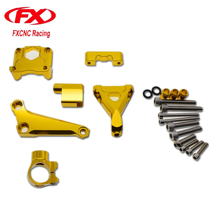 FX CNC Aluminum Adjustable Steering Stabilize Motorcycles Damper Bracket Mount Kit Fit for KAWASAKI Z300 Z250 2015-2016 adjustable steering stabilize damper bracket mount kit for honda cbr1000 2008 2014 t6061 t6 aluminum a set cnc fxcnc gold