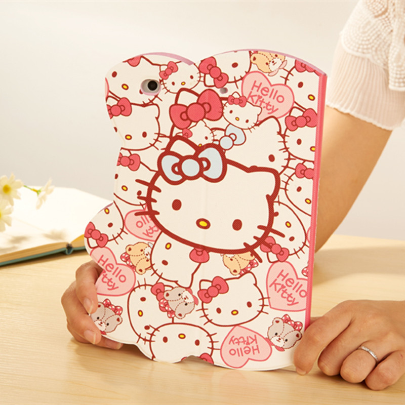 Cute Hello Kitty Case For iPad Mini 1 2 3 KT Cover Stand Leather For Apple iPad Mini2 Min3 Case Tablet Protective Cover Fundas