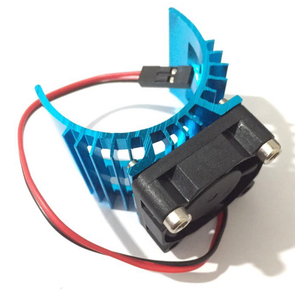 Blue RC Parts Electric Car brushless <font><b>Motor</b></font> Heatsink Cover + Cooling <font><b>Fan</b></font> for 1:10 HSP RC Car <font><b>540</b></font> 550 3650 Size <font><b>Motor</b></font> Heat Sink image