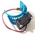 Piezas de RC azul coche eléctrico sin escobillas Motor disipador de calor + ventilador de refrigeración para 1:10 HSP RC coche 540 550 3650 disipador de calor del Motor de tamaño