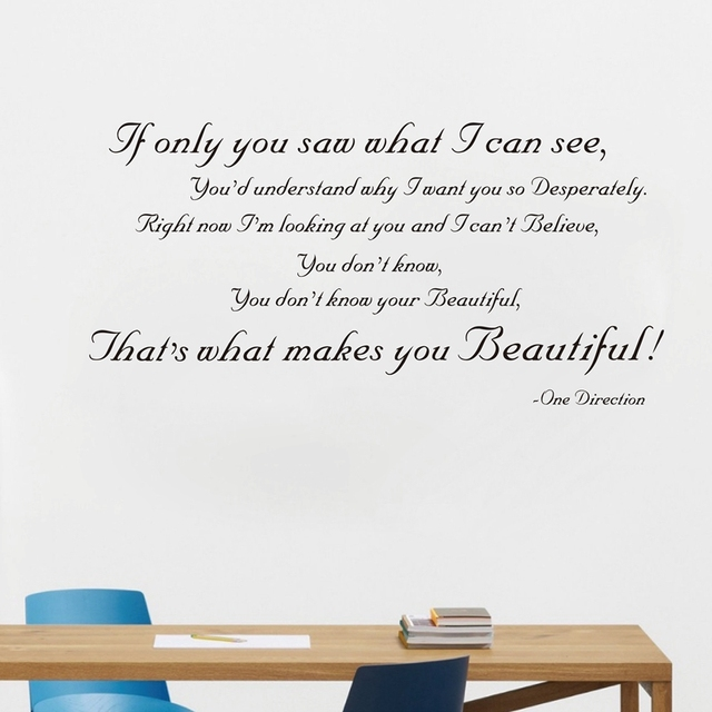 Fashion wall stickers large size 120x60cm , ONE DIRECTION YOU'RE BEAUTIFUL  SONG LYRICS WALL