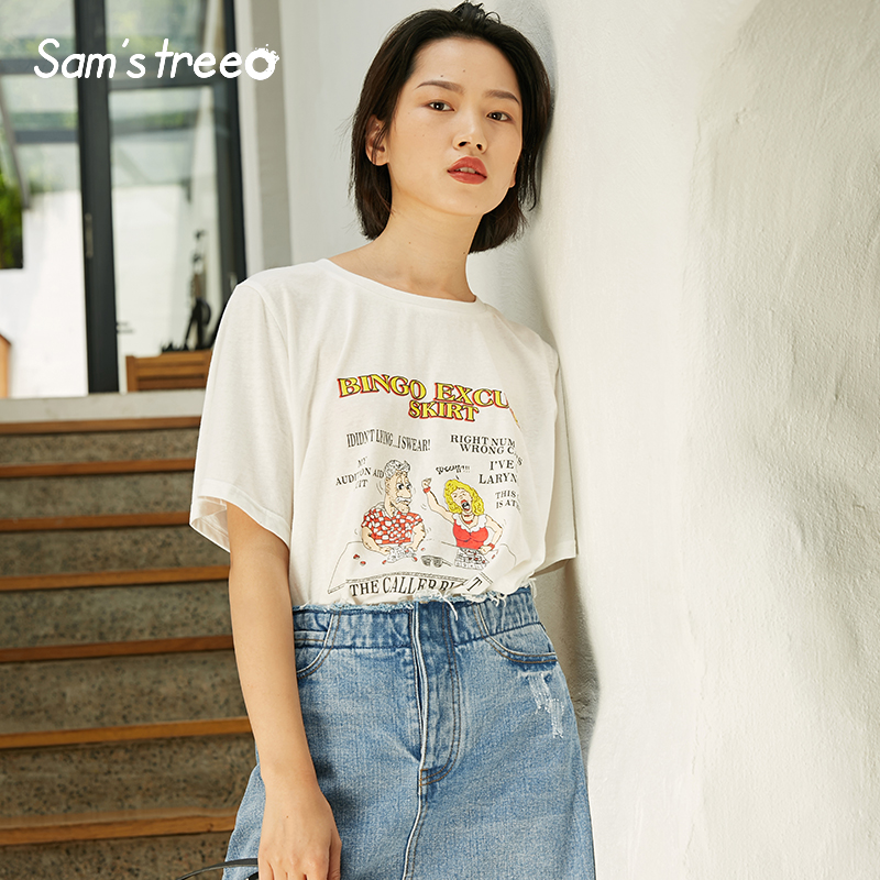 Samstree Summer Casual Loose Women T-shirts Cotton Female Tops Cartoon Printed Women Tees O-Neck Short Sleeve Female T-shirts