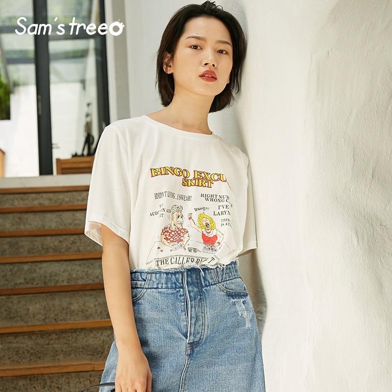 Samstree Summer Casual Loose Women T-shirts Cotton Female Tops Cartoon Printed Women Tees O-Neck Short Sleeve Female T-shirts