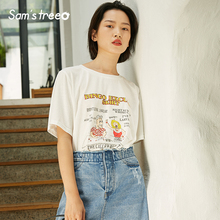 Samstree Summer Casual Loose Women T-shirts Cotton Female Tops Cartoon Printed Women Tees O-Neck Short Sleeve Female T-shirts zogaa tie dyed midriff baring women t shirts loose fit casual tops brand cloth summer new shorts sleeve casual female t shirts