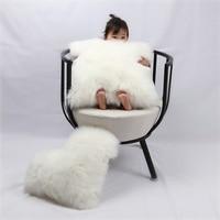 White Grey Lambs Wool Faux fox Fur Cushion Solid Long Plush Pillow Home Decor Sofa Seat Back Chair Car Bedding Cushion with Core
