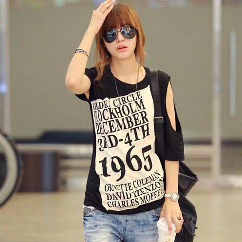 d1a4210e7 Hot Selling 2014 American Apparel Women Summer Loose Street Style Off  Shoulder Letter Print Black T-shirt Tshirts Tops T Shirt