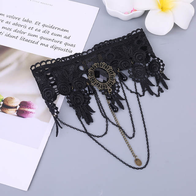 US $1 02 17% OFF|Womens Gothic Style Black Chocker Necklace Chain  Embroidered Lace Pendant Wedding Jewelry Punk Vintage Fake Collar Faux  Crystal-in