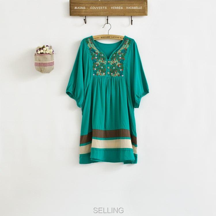 Винтаж 70s деревенском стиле вышитые Мексиканская Платье в богемном стиле с длинным Vestidos Женская хлопковая блуза 11 видов цветов L размера плюс футболки; - Цвет: Зеленый