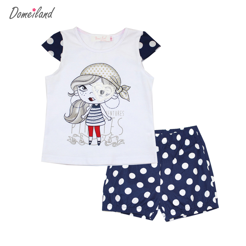 2017 fashion brand domeiland summer girl clothing set outfits cute baby kids cotton short sleeved cartoon tops dot shorts suits