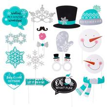 Fun Glittery 18pcs Winter Wonderland Photo Booth Props Snowflake Snowman Let It Snow Christmas Decorations Baby Birthday Party