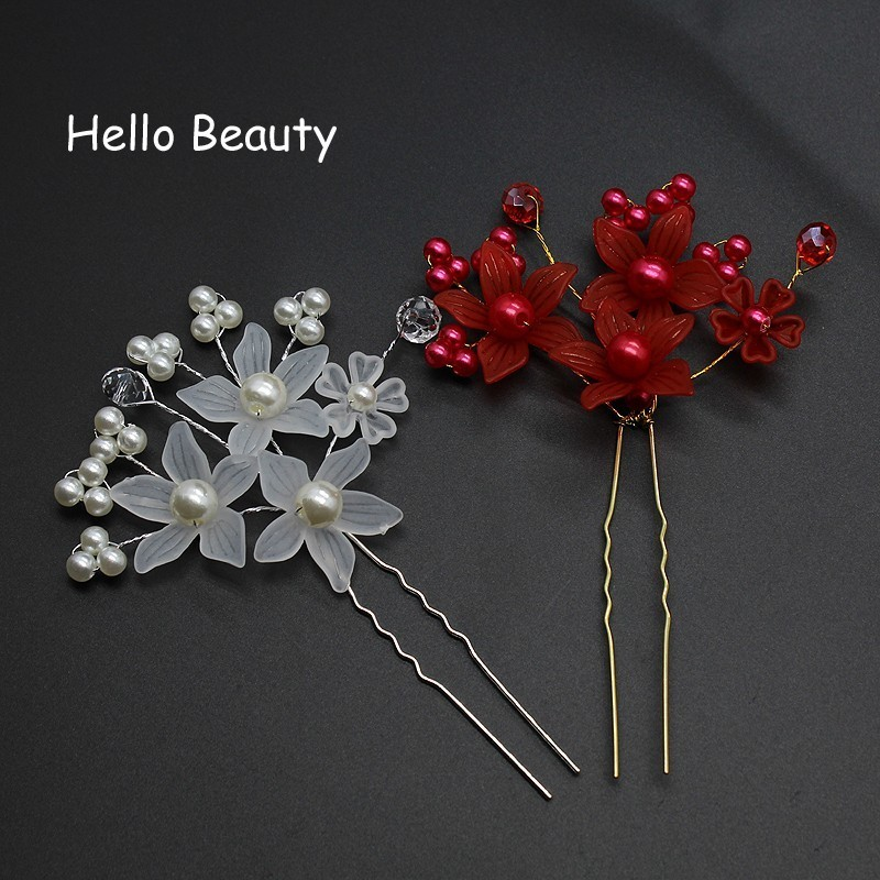 Wedding Hairpins Flower Rhinestone Bridal Hair Pins Bridesmaid Hair Accessories 7cm 2 8inch White Red Dark Purple Apparel Accessories