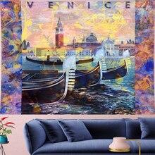 купить Psychedelic VENICE Dinghy Tapestry Vintage Pattern Retro Building Poster Wall Hanging Hippie Art decor personality Wall carpets по цене 729.47 рублей