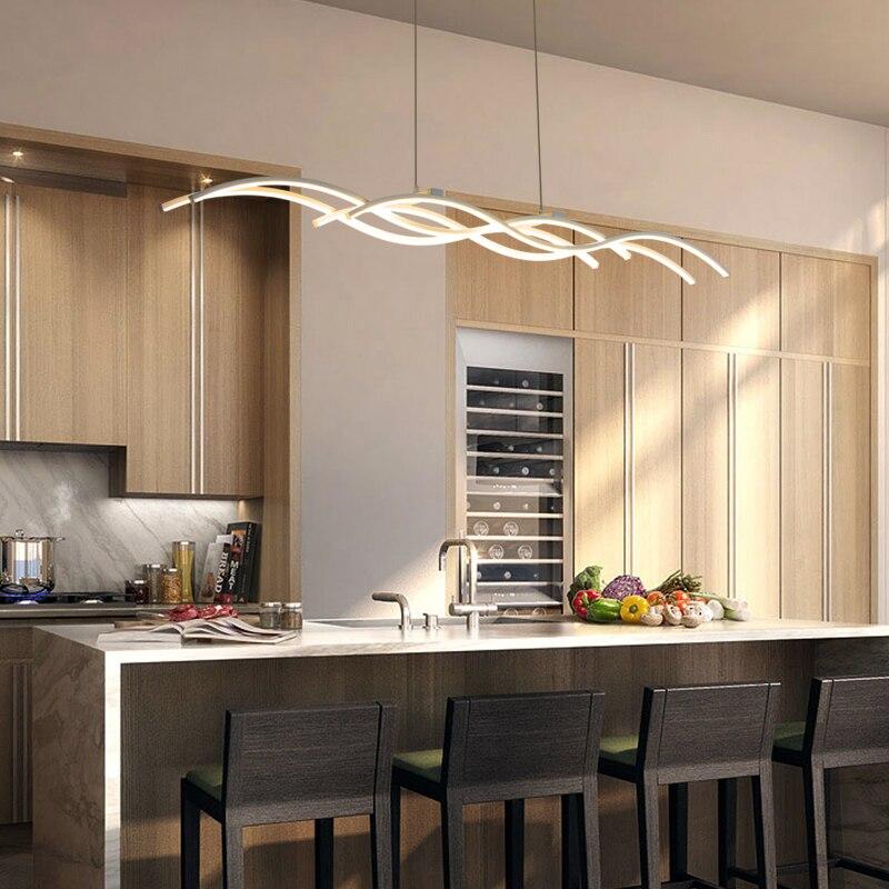 Forma de onda moderno led colgante luces sal n comedor cocina de aluminio blanco l mpara - Luces para comedor ...