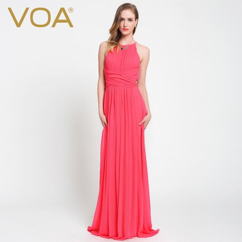 VOA Ladies Sexy Evening Party Bohemian Silk Dress shoulder waist slim  sleeveless silk Wavy long dress A6058-in Dresses from Women s Clothing on  ... 64839b71440e