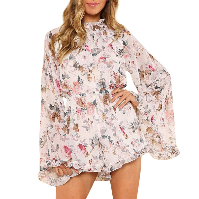 Women's Clothing Kind-Hearted Women Holiday Long Sleeve Chiffon Printed High Waist Summer Beach Overalls Fashion Sweet Girl Casual Macacao Feminino 2019 M5 High Quality