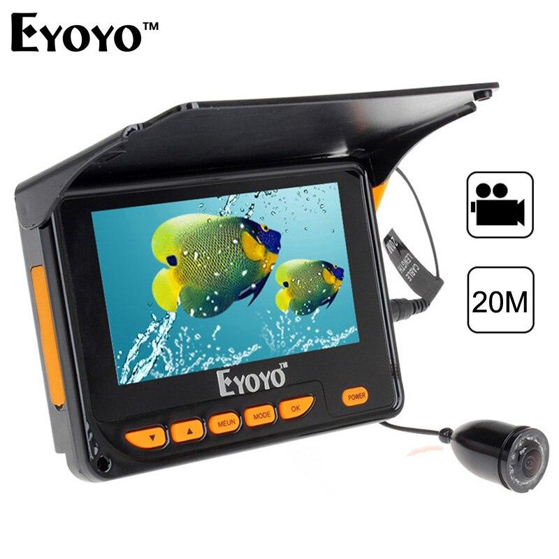 Eyoyo D'origine 4.3 20 m Détecteur De Poissons HD 1000TVL Pêche Sous-Marine Caméra Vidéo Enregistrement DVR IR LED Pare-Soleil 150 degrés