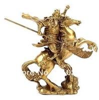 משלוח חינם עתיק הגיבור הסיני גואן גונג גואן יו לרכב על סוס * פסל ברונזה
